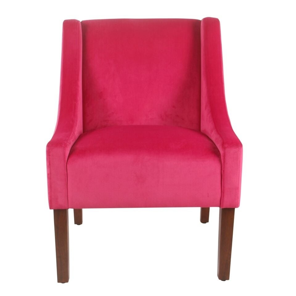 Homepop Modern Velvet Swoop Arm Accent Chair   Pink