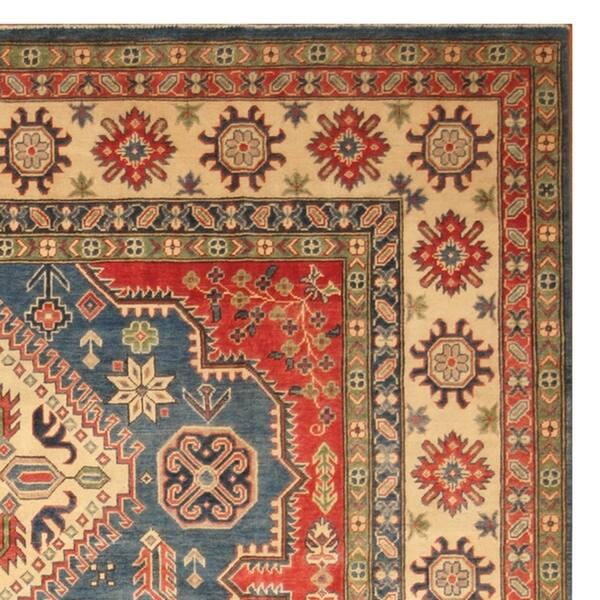 Handmade One Of A Kind Kazak Wool Rug
