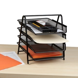 Mind Reader Desk Organizer with 4 Sliding Trays for Letters, Documents, Mail, Files, Paper, Black
