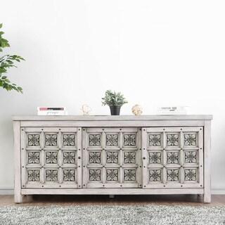 Furniture of America Breton Rustic Rosette Inlay TV Stand