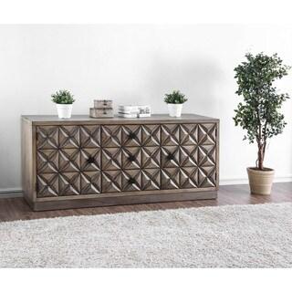Furniture of America Breton Rustic Carved Oak TV Stand