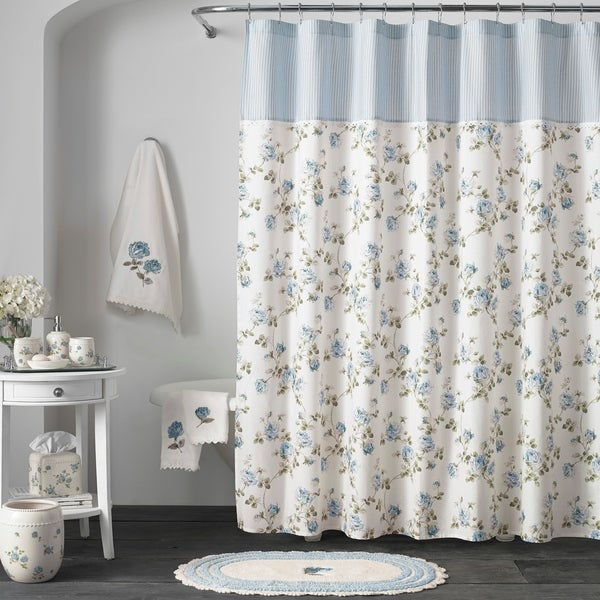 Shop Five Queens Court Rosalind Blue Floral Chic Shower Curtains ...