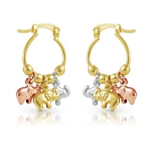 Gold Plated Tri-Gold Animal Shape Dangling Earrings