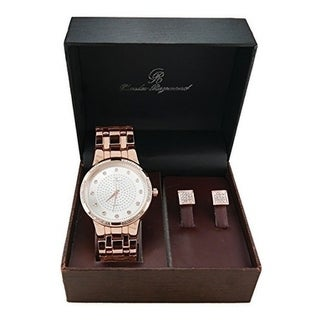 Sophisticated yet with Soul!! Bling Bling Metal Classy Timepiece with Elegant Pave Kite Design Earrings in Gift Box - ROSE