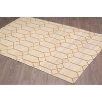 Stockholm Kilim Beige Gold Reversible Wool Rug