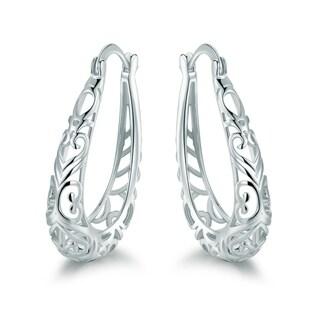 Rhodium Plated Filigree Fringe Earrings