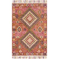 "Hand-hooked Bohemian Pink Geometric Wool Rug - 3'6"" x 5'6"""