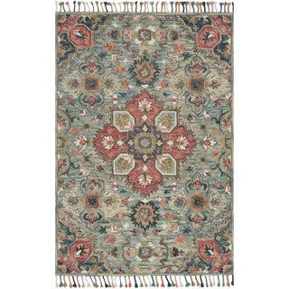 "Hand-hooked Bohemian Blue/ Pink Floral Medallion Wool Rug - 7'9"" x 9'9"""
