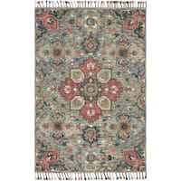 """Hand-hooked Bohemian Blue/ Pink Floral Medallion Wool Rug - 7'9"""" x 9'9"""""""