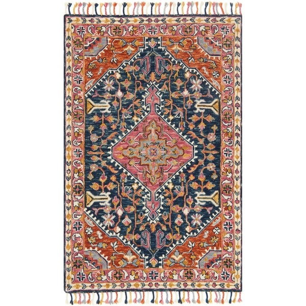 Shop Hand Hooked Bohemian Navy Multi Medallion Wool Rug