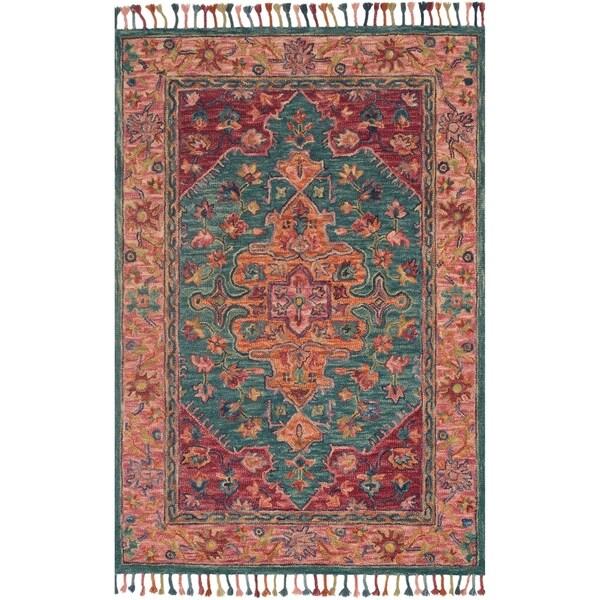Teal Floral Area Rug: Shop Hand-hooked Pink/ Teal Floral Medallion Wool Area Rug