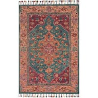 Hand-hooked Pink/ Teal Floral Medallion Wool Area Rug with Fringe - 9'3 x 13'