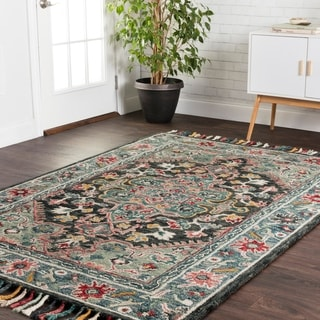 """Hand-hooked Navy/ Red Floral Medallion Wool Area Rug with Fringe - 9'3"""" x 13'"""