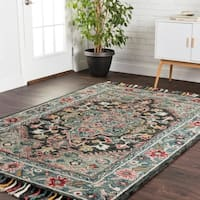 Hand-hooked Navy/ Red Floral Medallion Wool Area Rug with Fringe - 9'3 x 13'