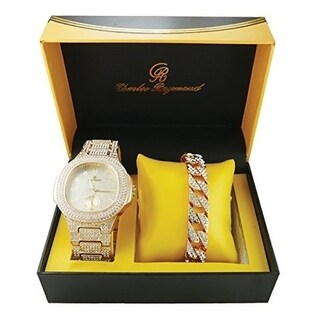 Rapper's Cuban Bling'd Out Bracelet with Matching Bling'd Out Hip Hop Watch. Luxury Fashion Accessories - GOLD