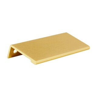 """10 Pack Modern Edge Pull 3-5/32"""" Centers Satin Gold Cabinet Handle"""
