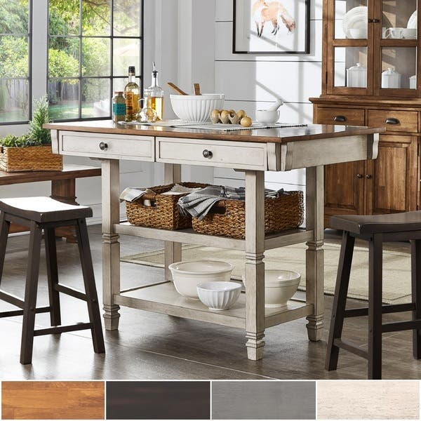 Shop Elena Two-Tone Antique Kitchen Island Buffet by iNSPIRE ...