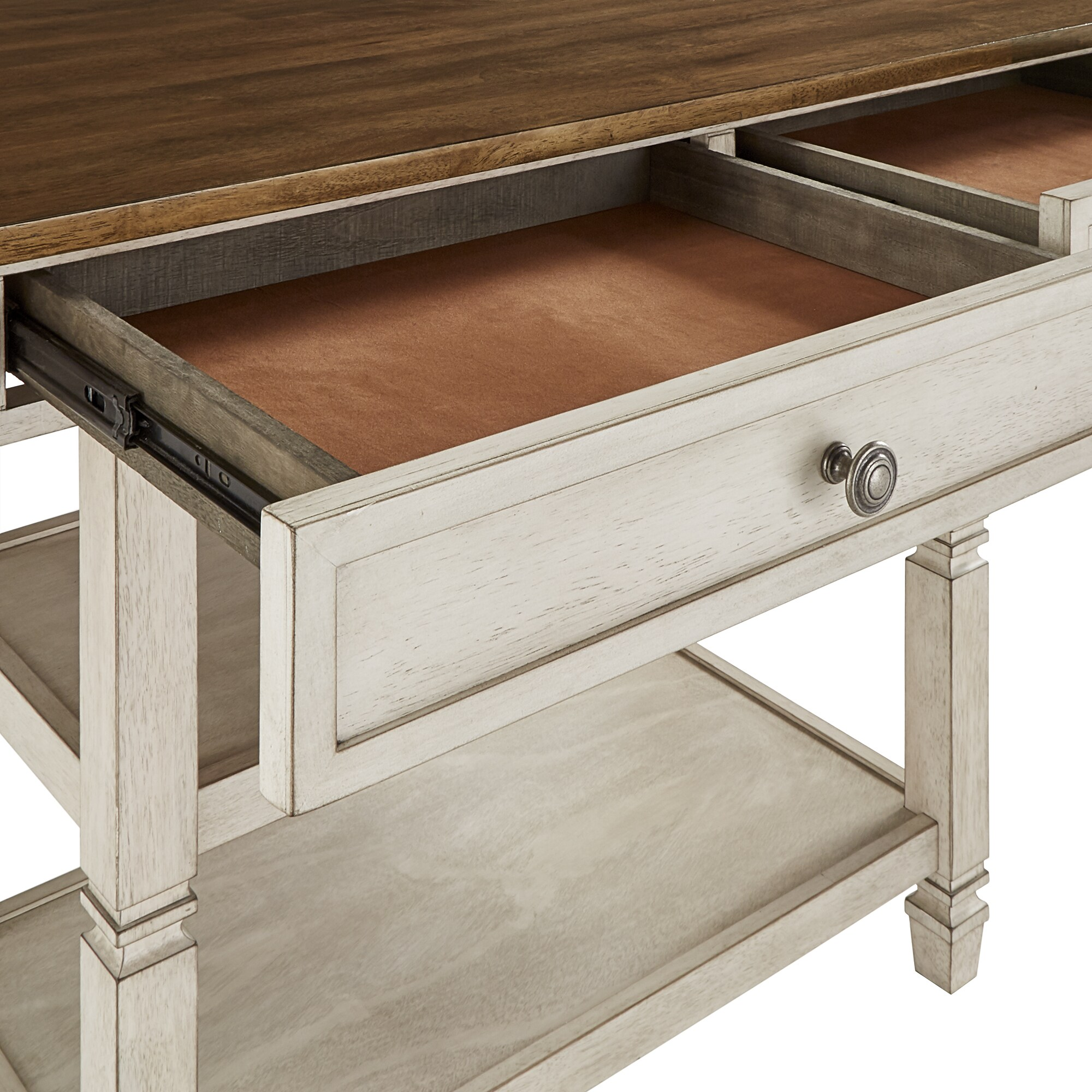Elena Two Tone Antique Kitchen Island Buffet By Inspire Q Classic