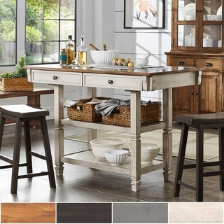 Elena Two-Tone Antique Kitchen Island Buffet by iNSPIRE Q Classic