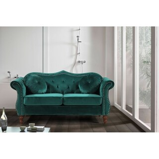 Classic Nailhead Chesterfield Loveseat (Option: green)