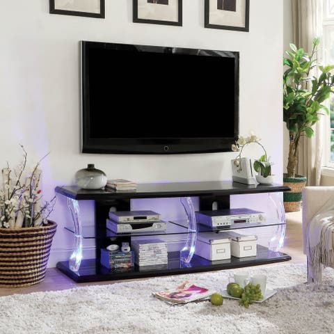 Furniture of America Lald Modern Glass 2-shelf TV Console with LED