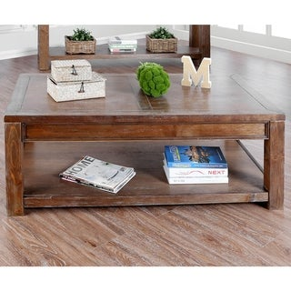 Link to Furniture of America Sema Rustic Solid Wood Coffee Table Similar Items in Living Room Furniture