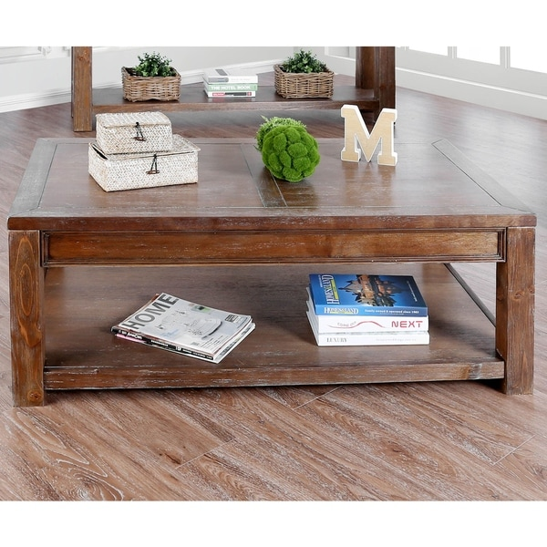 Furniture of America Sema Rustic Solid Wood Coffee Table. Opens flyout.