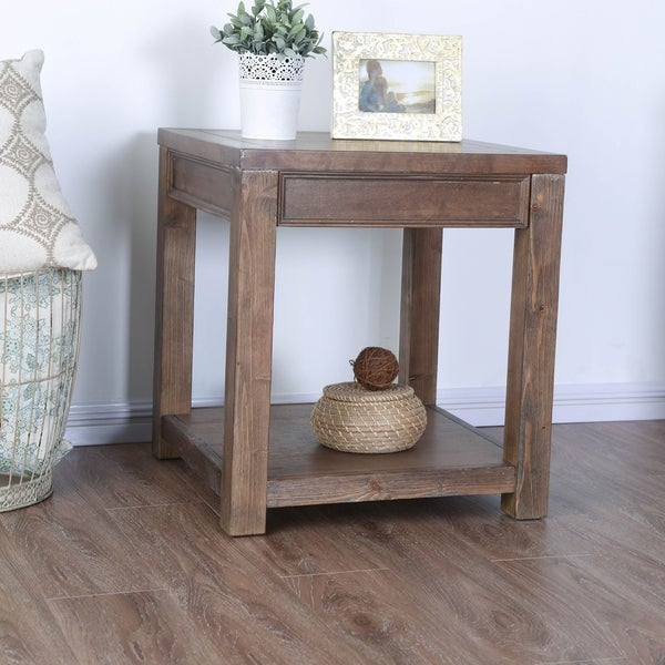 Furniture of America Sema Rustic Solid Wood Square End Table