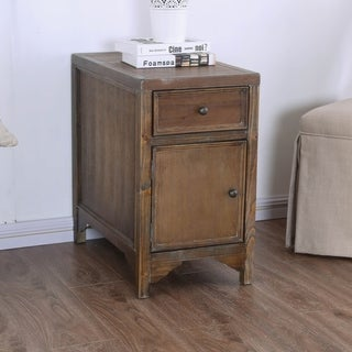 Furniture of America Sema Rustic Solid Wood 1-drawer Side Table