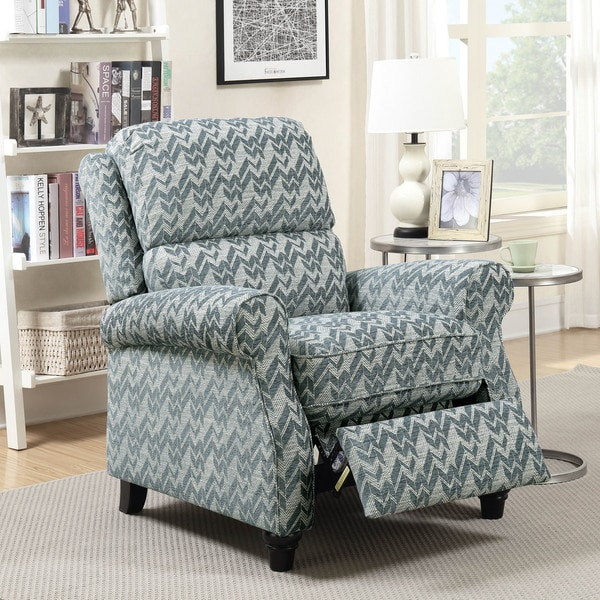 Furniture of America Beddingley Chenille Push Back Reclining Chair