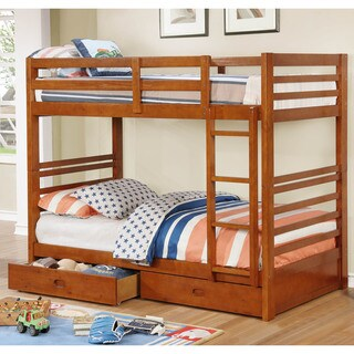 Furniture of America Kendall Wooden Storage Twin over Twin Bunk Bed (Option: Oak)