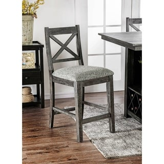 Furniture of America Devlin Rustic Dark Walnut Counter Height Chairs (Set of 2)