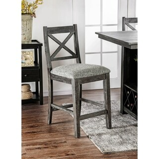 Furniture of America Devlin Rustic Dark Walnut Counter Height Chairs (Set of 2) - N/A