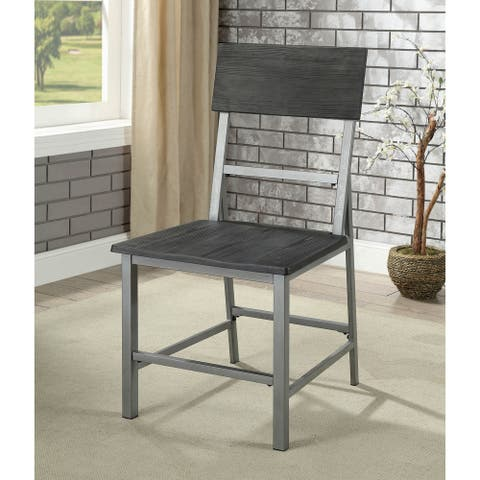 """Furniture of America Traw Industrial Grey Metal Side Chairs (Set of 2) - 19 7/8""""W X 22 7/8""""D X 37 3/8""""H"""