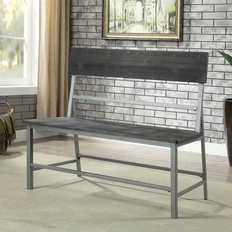 Furniture of America Traw Industrial Black Metal Dining Bench