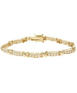 18K Gold over Sterling Silver with CZ Twist Accent Bracelet iXNXKuCZJ