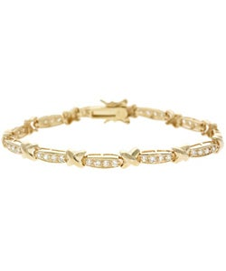 Icz Stonez 18k Yellow Gold over Sterling Silver CZ Bracelet