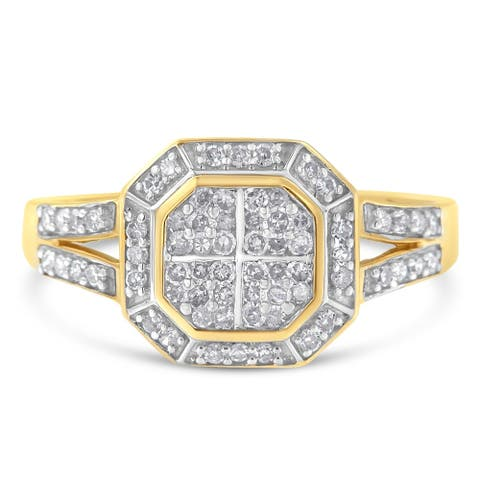 10K Yellow Gold 0.50ct TDW Round Cut Diamond Ring (I-J,SI2-I1)