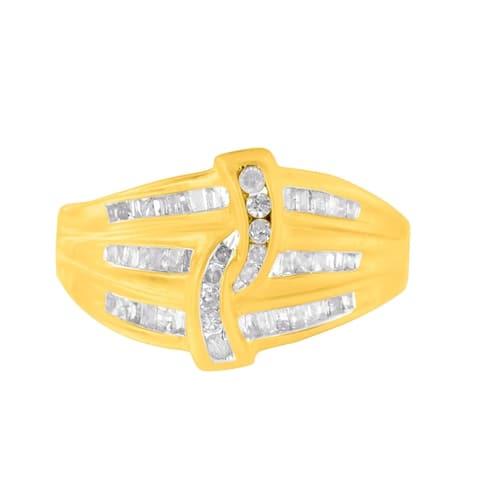 10K Yellow Gold 0.50ct Three Row Diamond Ring (I-J,I2-I3)