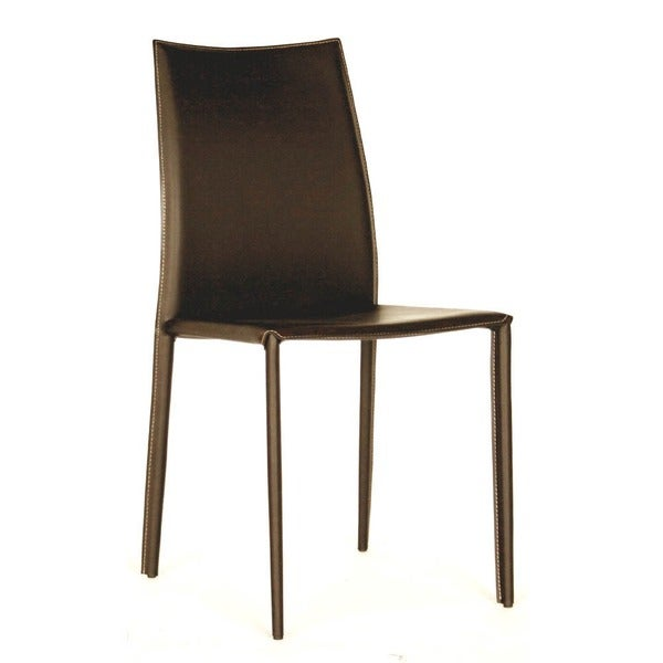 Brown Leather Dining Room Chairs: Shop Modern Brown Faux Leather Dining Chair 2-Piece Set