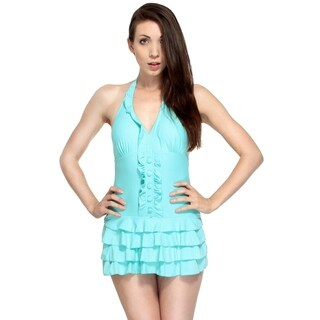 Simplicity Plus Size One Piece Stretch Fit Ruffle Halter Swimsuit (2 options available)
