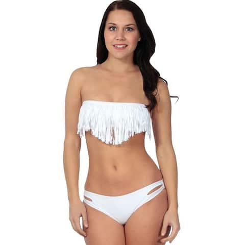 Simplicity Women's Tassel Padded Bikini Set Swimwear Swimsuit