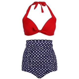 Simplicity Women's Sexy 2 Pcs High Waist Retro Bikini Swimsuit Set