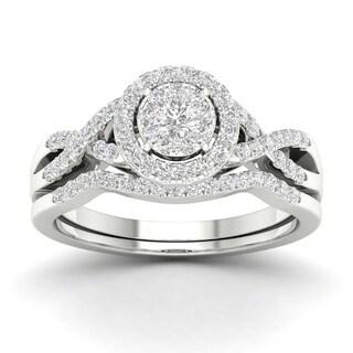 De Couer 10k Gold 3/8Ct TDW Diamond Halo Twist Shank Bridal Ring Set