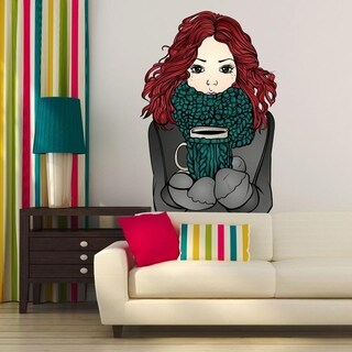 """Girl Coffee Cup Full Color Wall Decal Sticker K-203 FRST Size 20""""x31"""""""