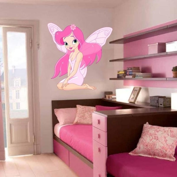 "shop pink fairy full color wall decal sticker k-287 frst size 52""x65"
