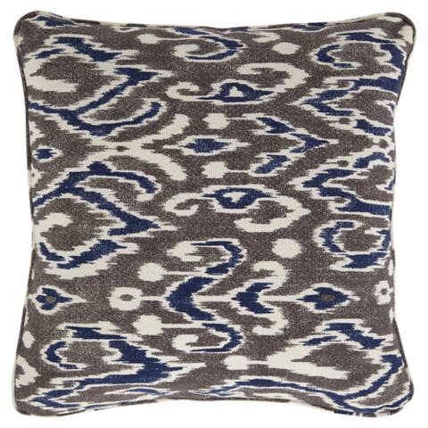 Kenley Brown Ikat Pattern Throw Pillow