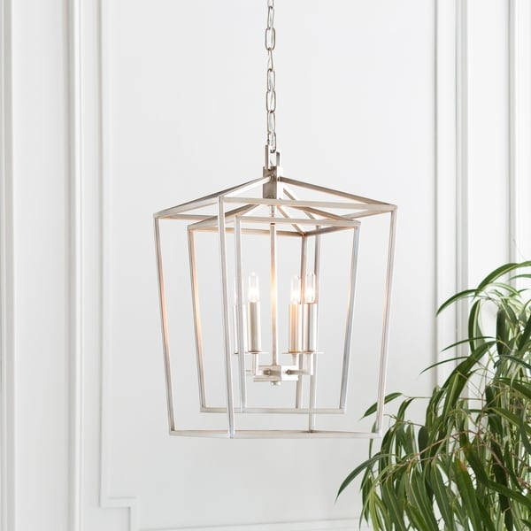 "Prosperus Updated Traditional Silver 21"" Lantern Lighting Fixture"