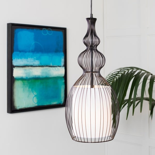 "Kamala Transitional Black 25"" Pendant Lighting Fixture"