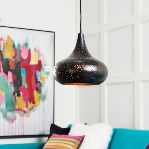 "Boadicea Modern Black 11.75"" Pendant Lighting Fixture"